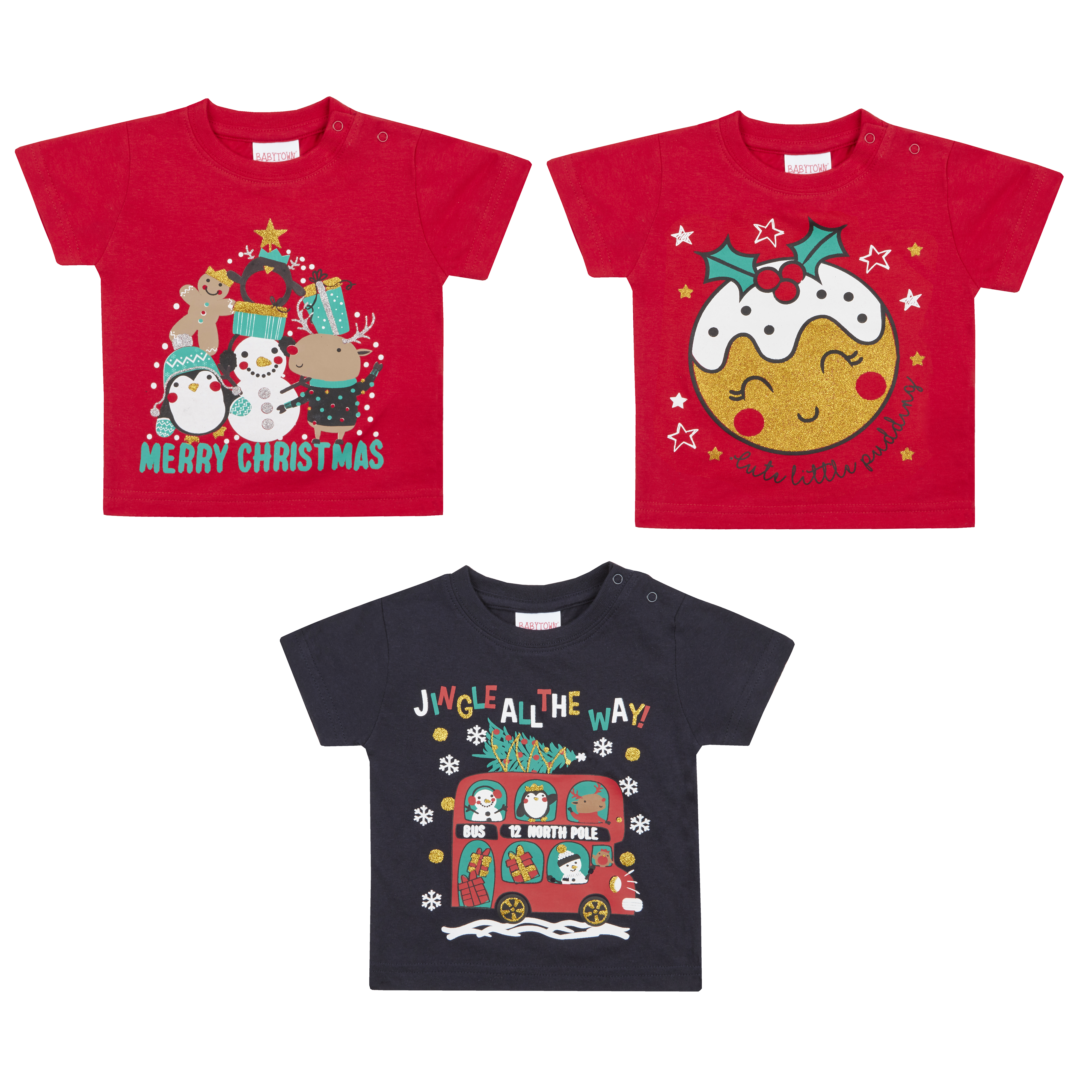 24945d514 Unisex Baby Christmas Xmas T-shirt Top Tee 100% Cotton Festive ...
