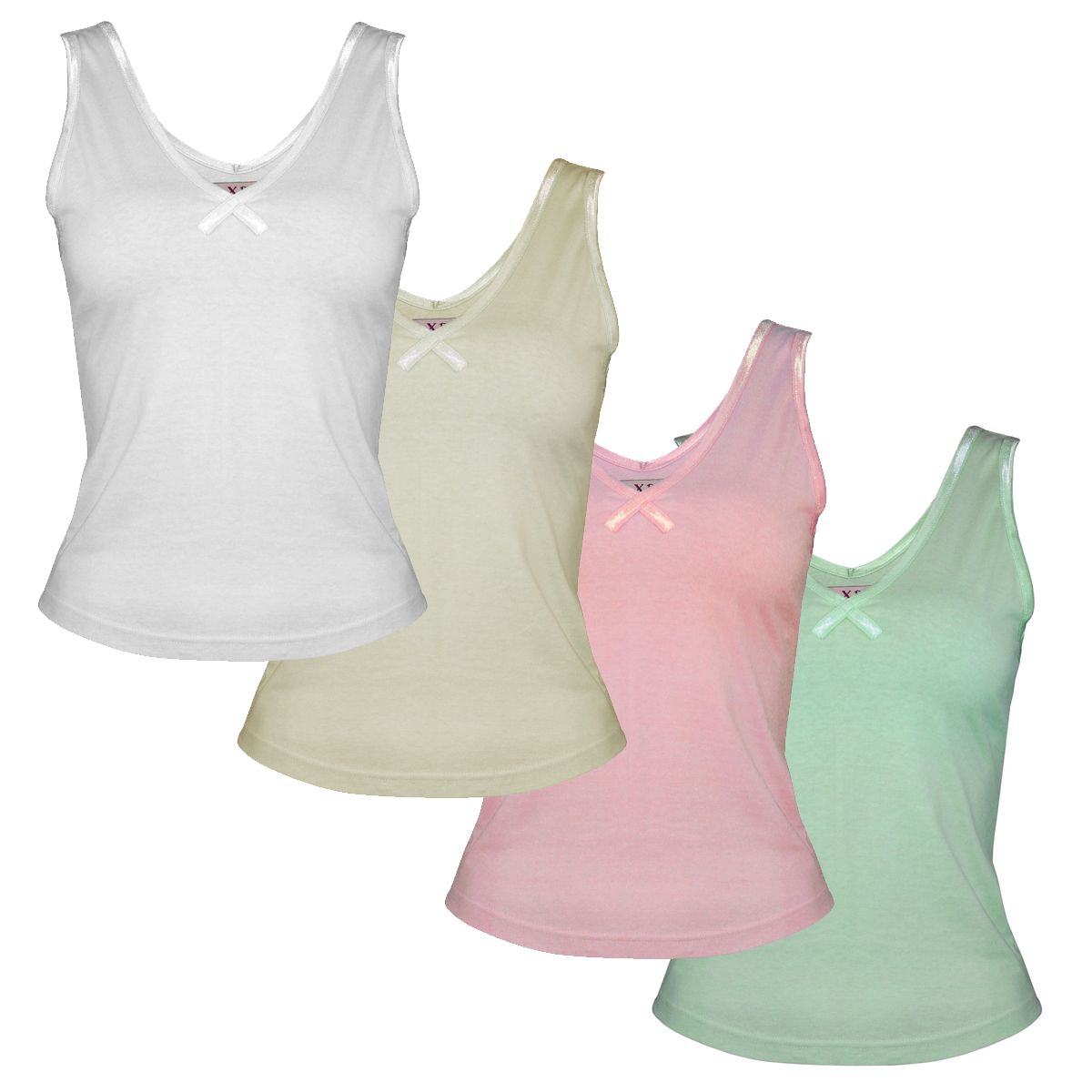 654e0f4ebb Womens Ladies Cotton Plain Vest Cropped Short Sleeveless Tank Top V-Neck  Satin