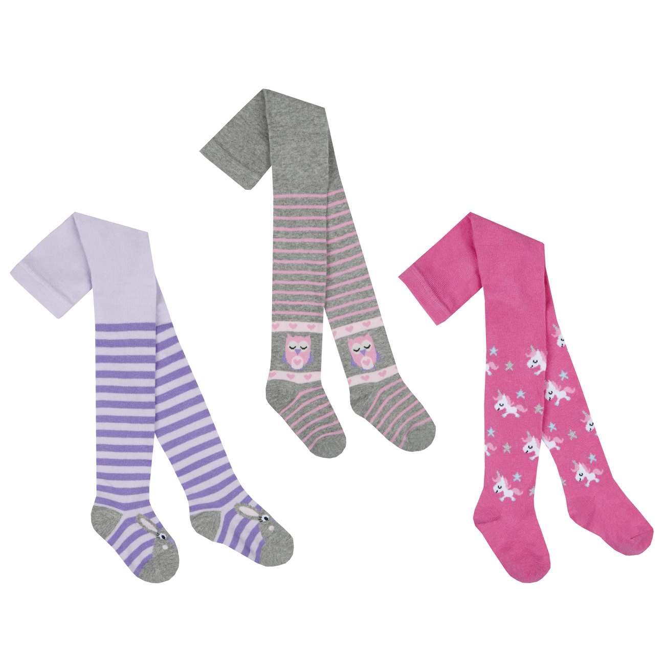476b5956765ef Baby Girls Cotton Rich Tights 3 Pack Toddler Patterned Bunny Unicorn Striped