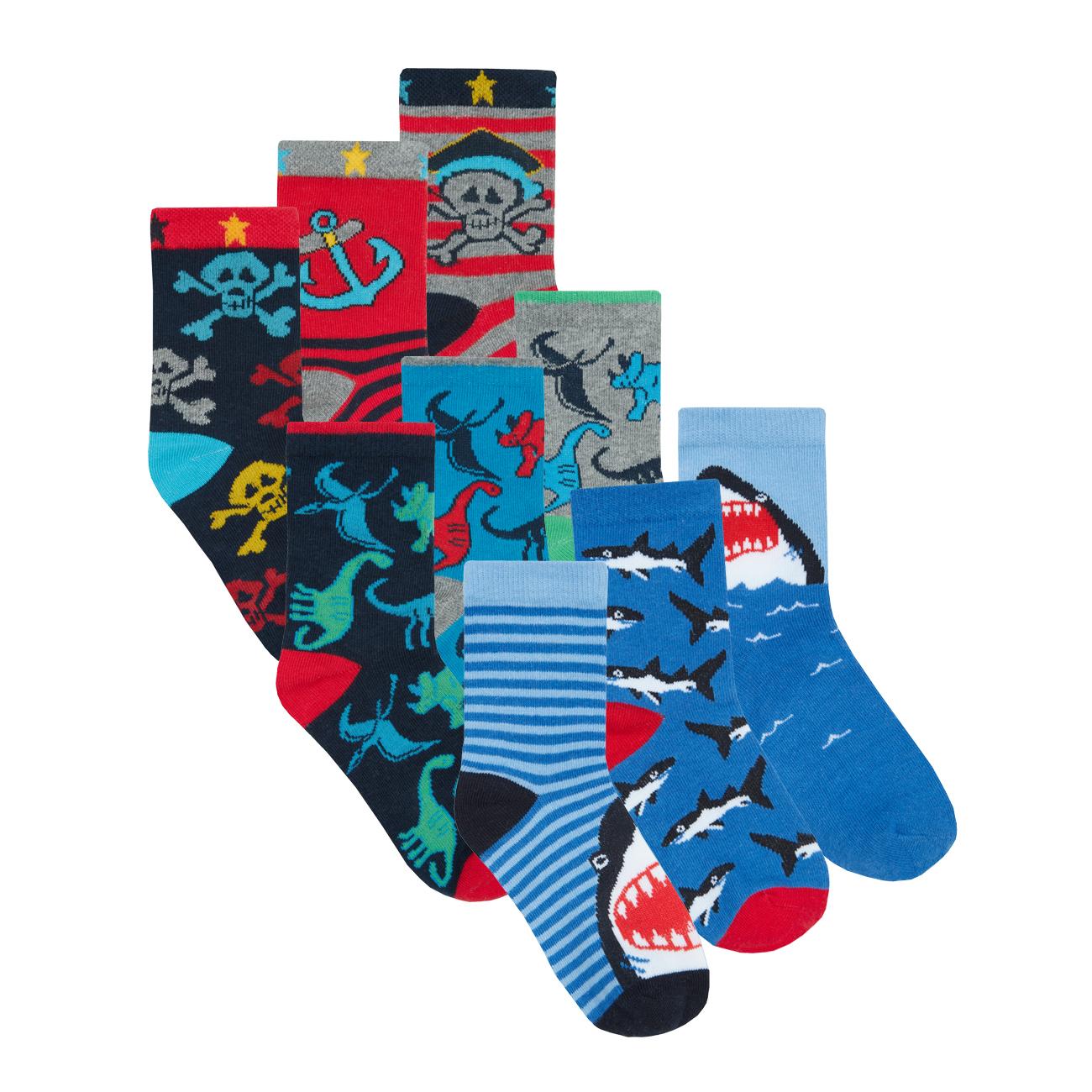 Metzuyan Baby Boys 6 Pairs Novelty Print Cotton Rich Multibuy Ankle Socks