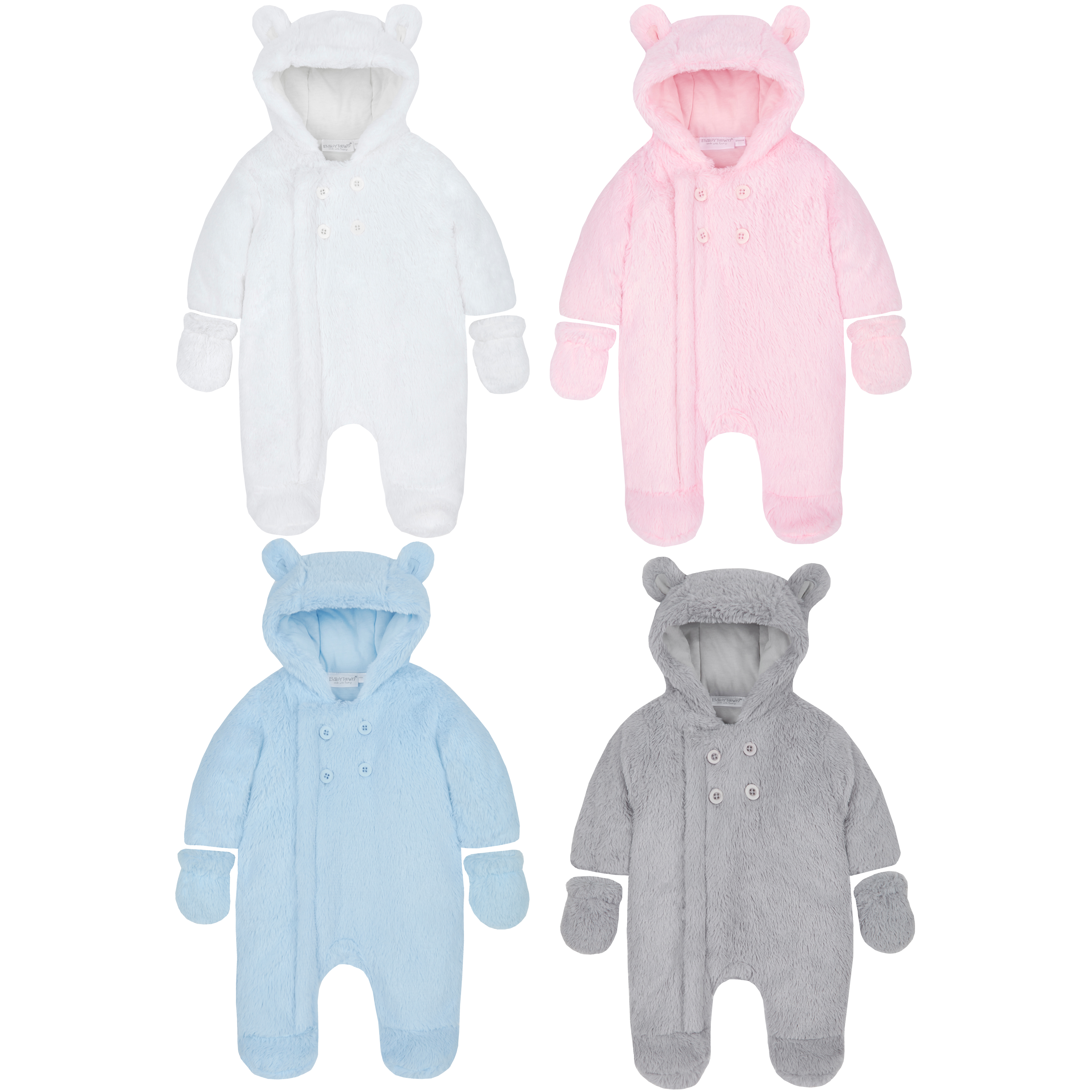 ac04a7435026 Baby Unisex Pram Suit Newborn Body Suit All In One Fluffy Mittens ...