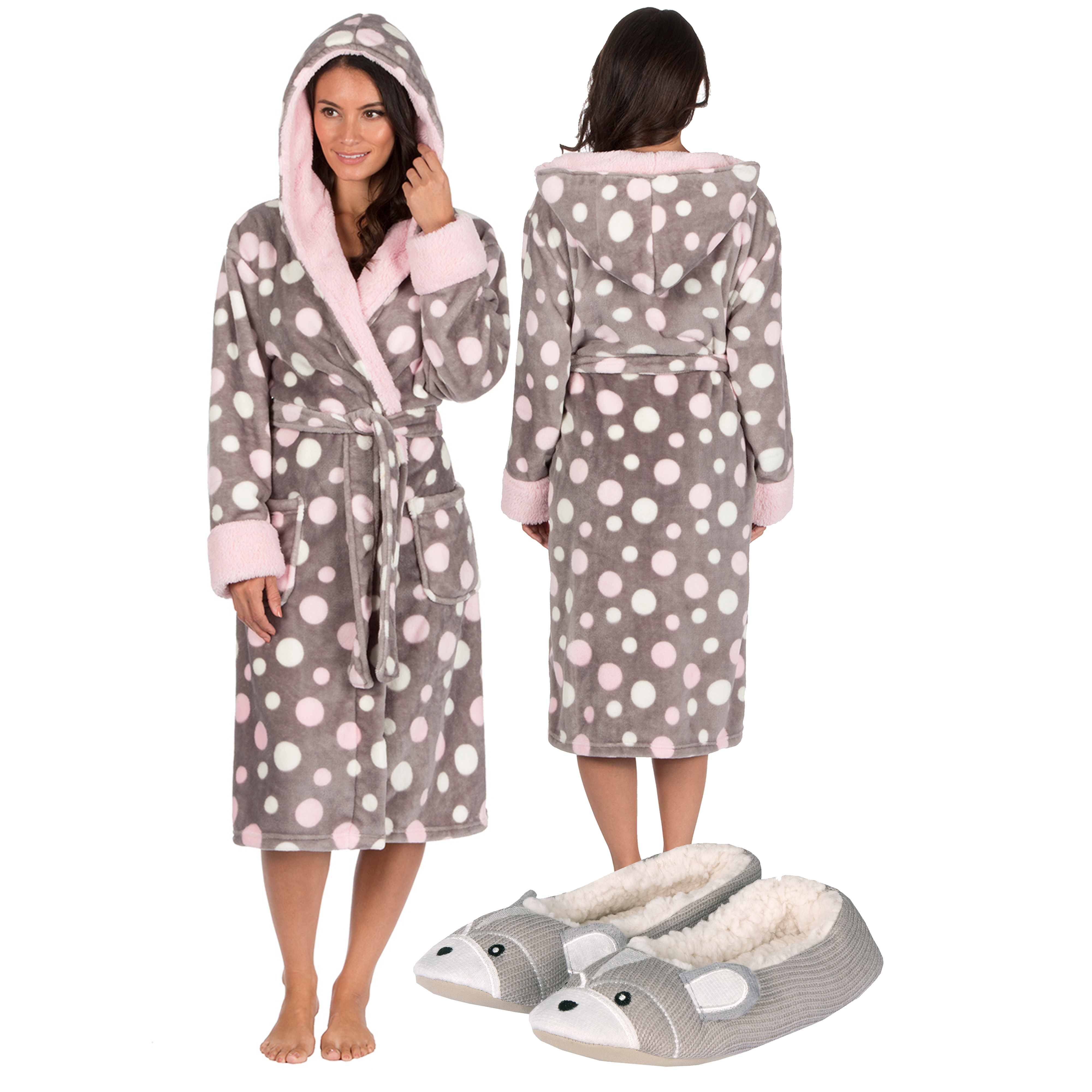 Womens Ladies Dressing Gown Robe Slippers Gift Set Plush Soft