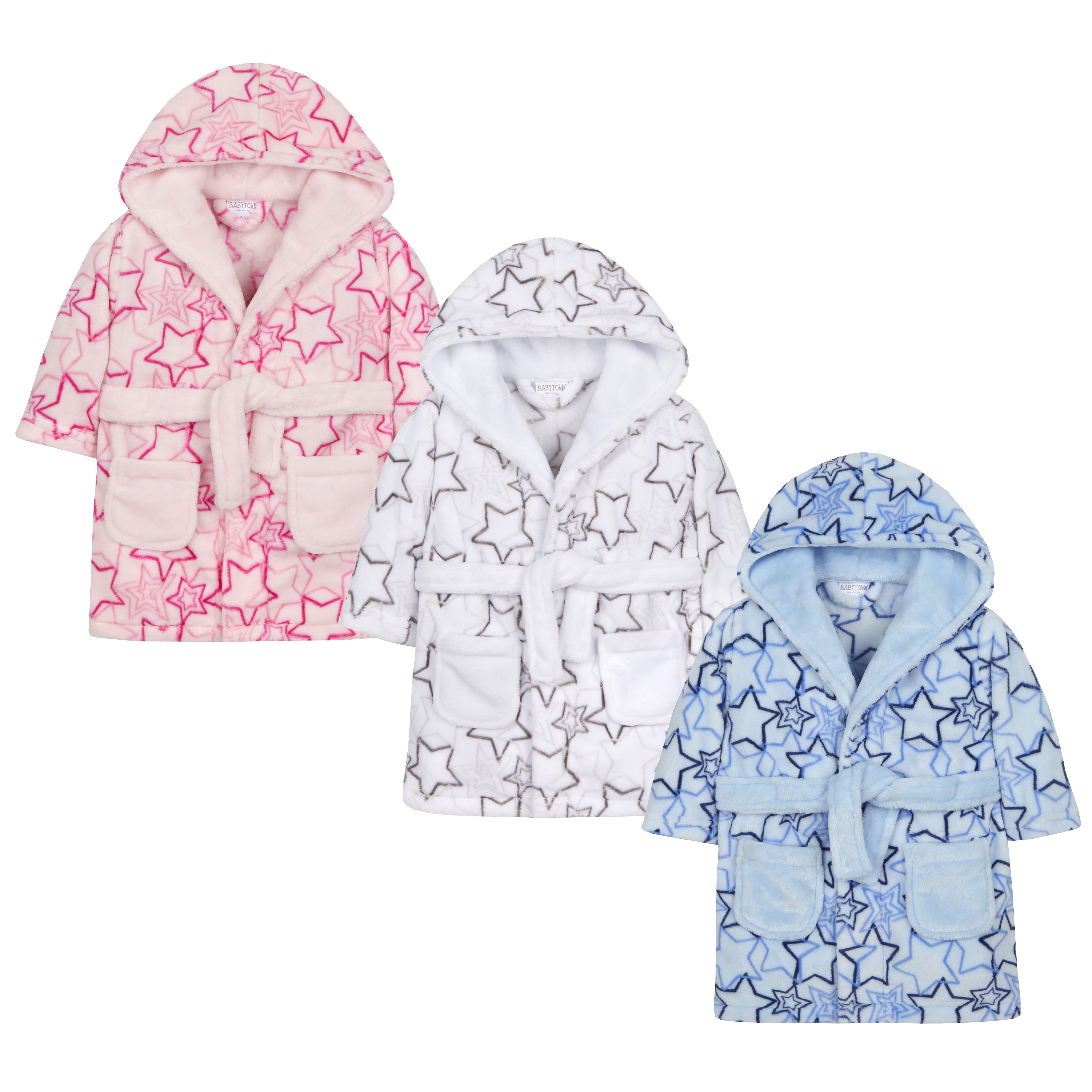 22f4f111a7063 Baby Girls & Boys Star Print Dressing Gown Robe Plush Fleece Unisex  Supersoft