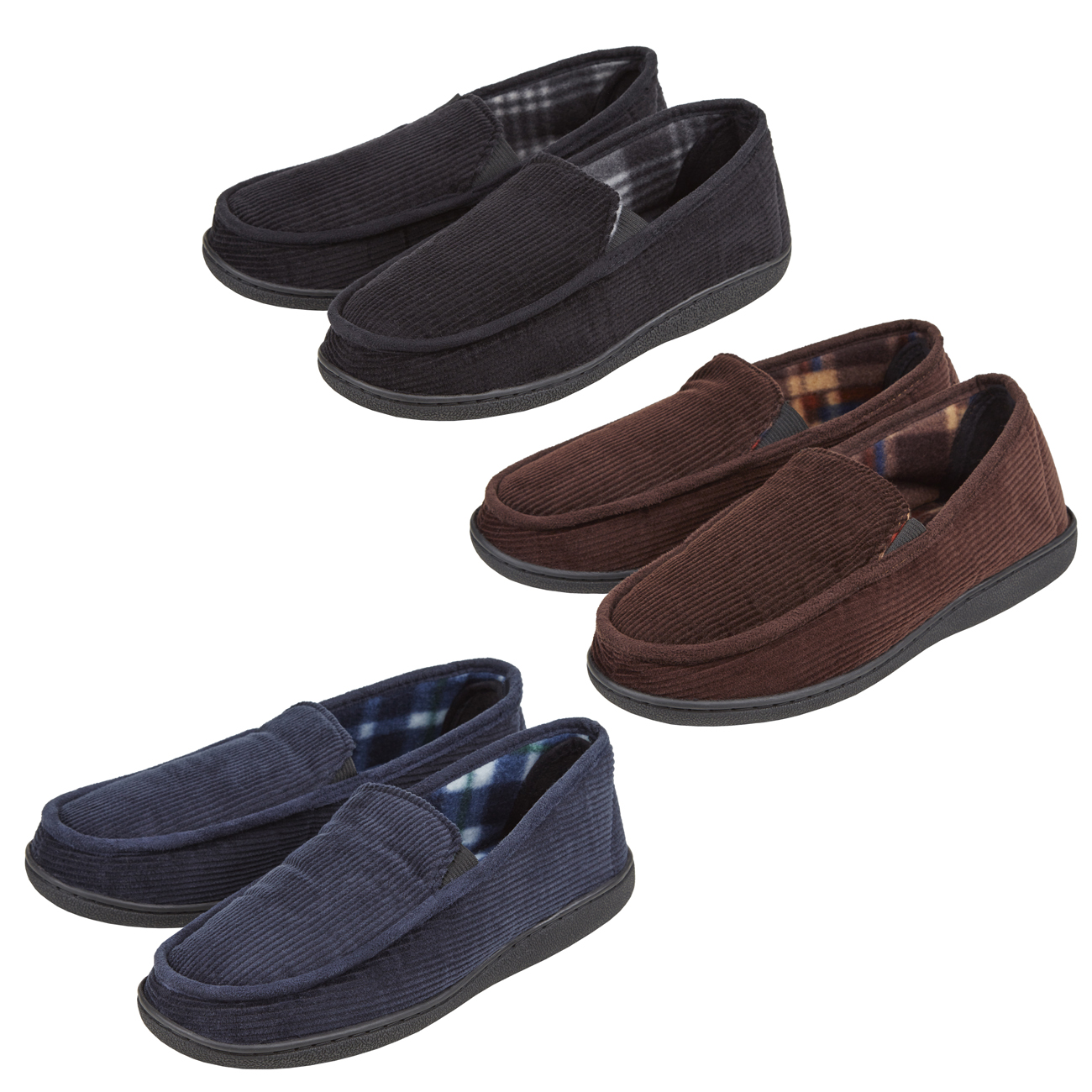 2264b0f64633 Mens Mule Closed Back Slippers Pull On Moccasin Corduroy Memory Foam Indoor  6-11
