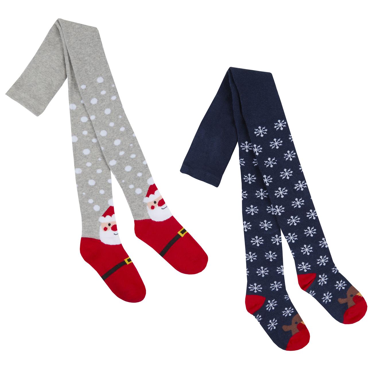 96abb8494ea Girls Christmas Tights 2-Pack Cotton Rich Xmas Novelty Snowflakes Dots 2-8  years