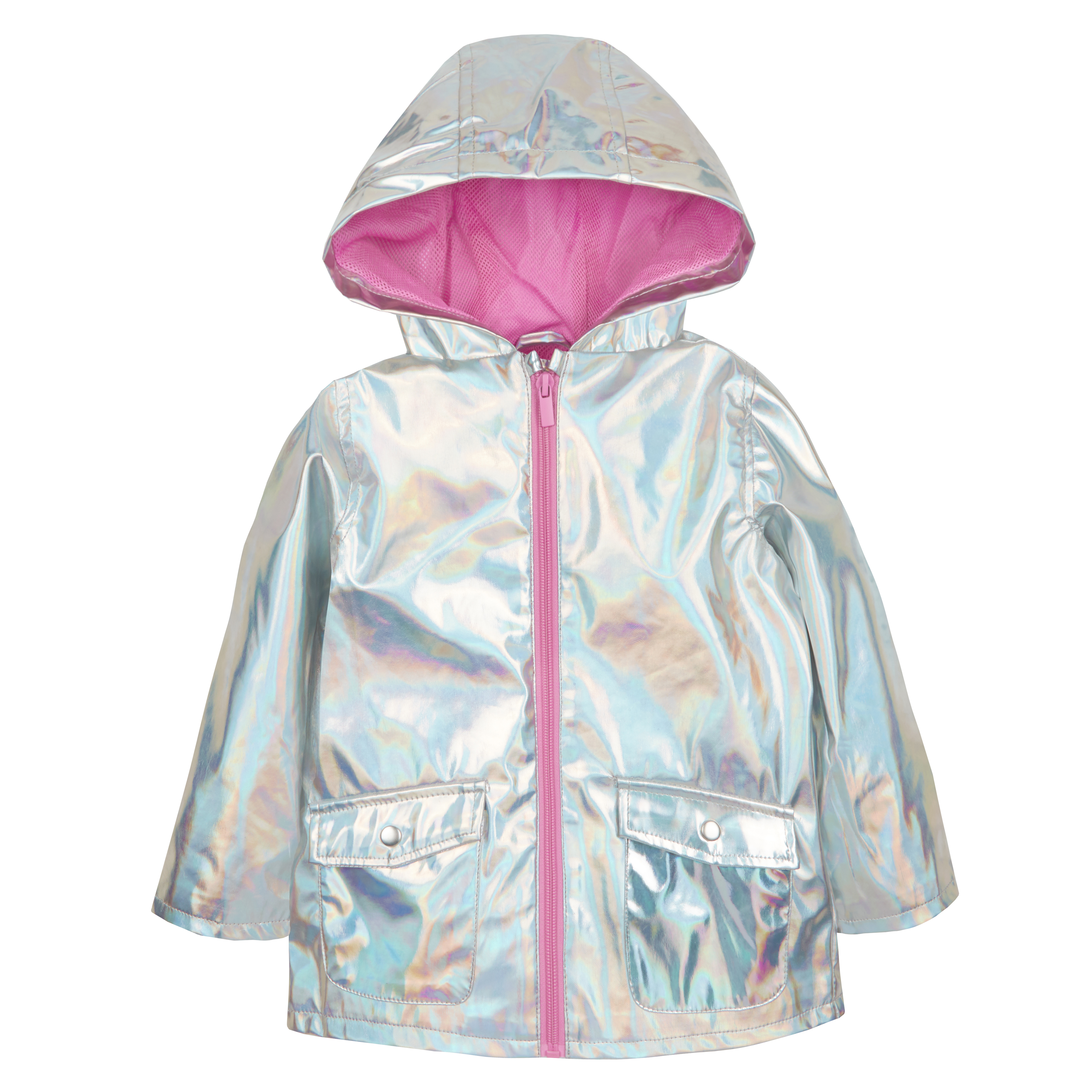 a1c38dd20 Baby Girls Holographic Iridescent Shiny Silver Raincoat Hooded Jacket  Metalic