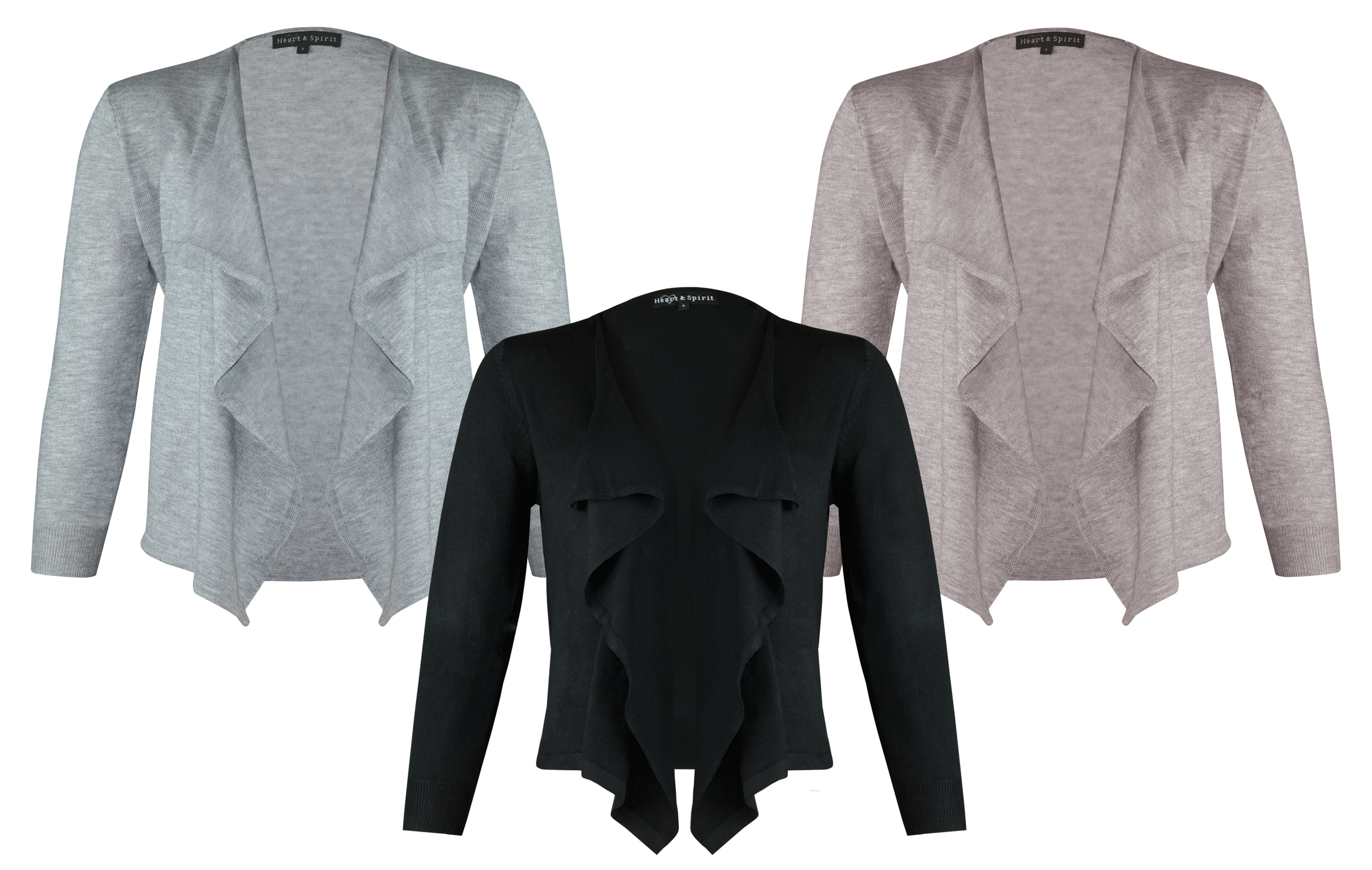 HEART & SPIRIT Stretch Waterfall Cardigan Cropped Open Fashion ...