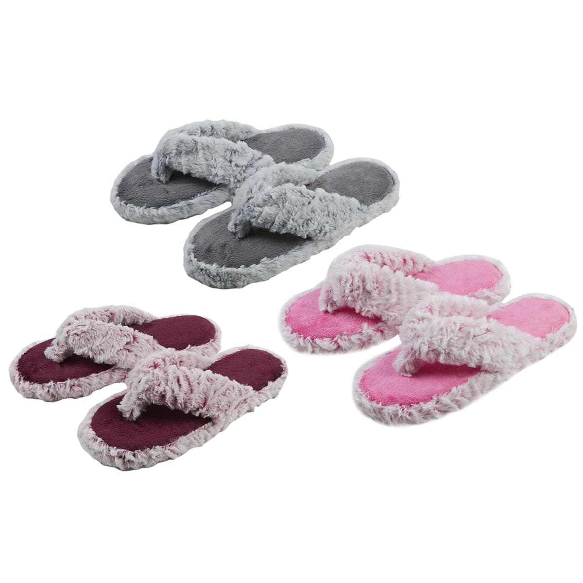 7a663f71890a Girls Kids Faux Fur Flip Flops Slippers Open Toe Mules Soft Comfy Size 10-2  UK