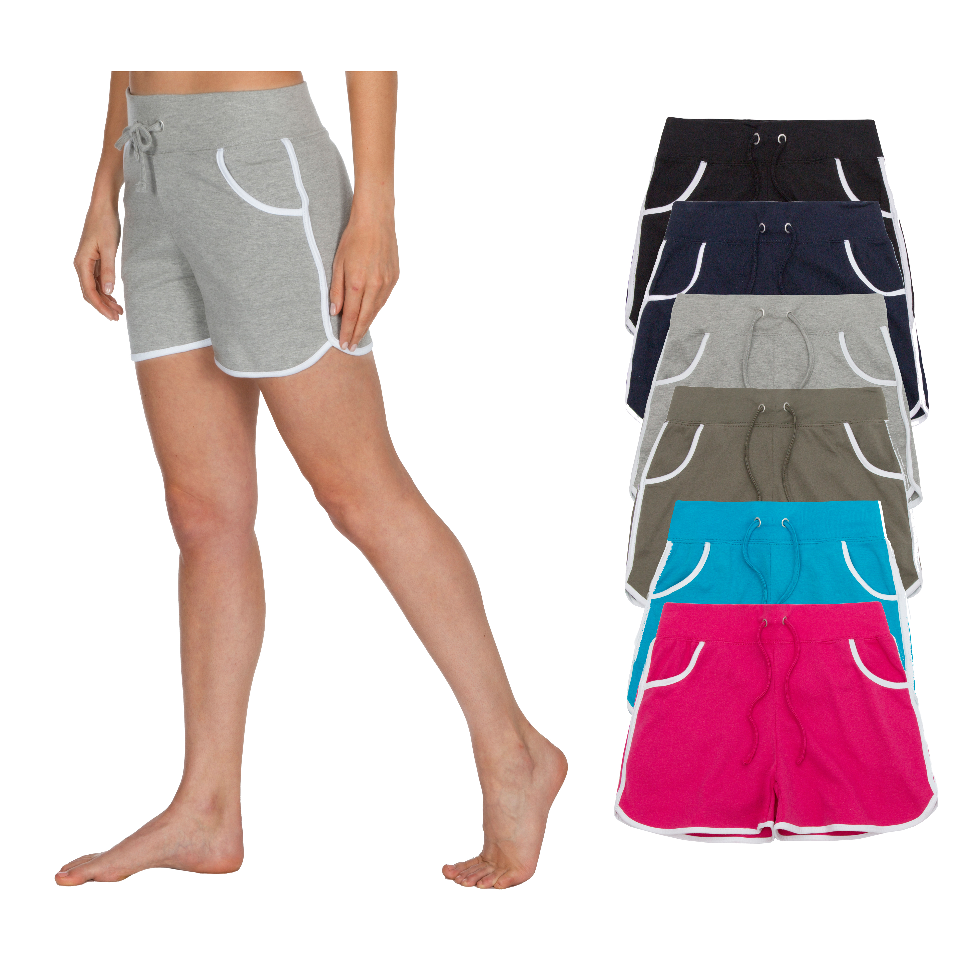 Womens Ladies Shorts SUMMER COTTON JOG STYLE RETRO 2 STRIPE BEACH GYM HOLIDAY  x