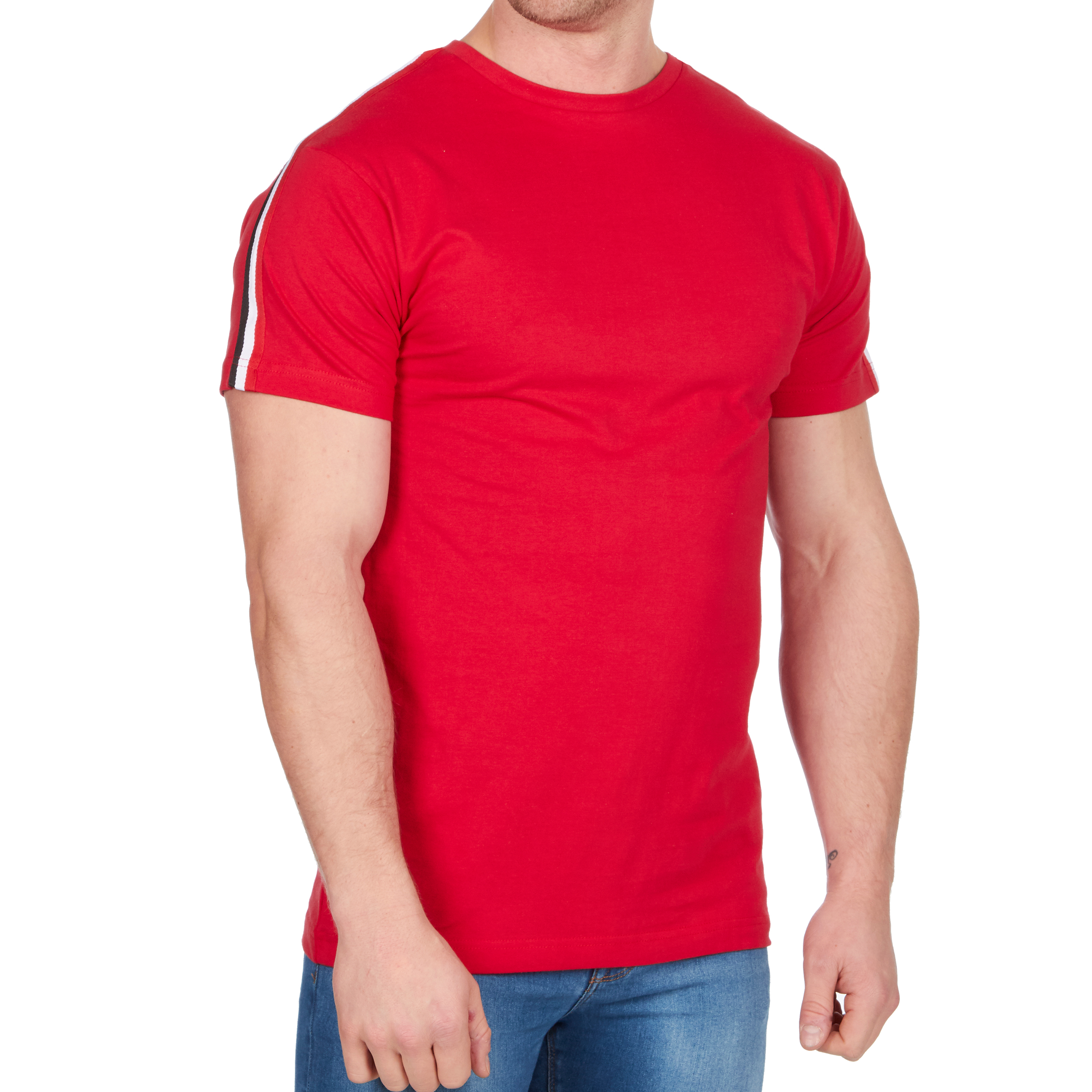 da030765 Mens Crew Neck Plain Cotton T-shirt Tee Top Fitted Casual Contrast Stripe  Blank