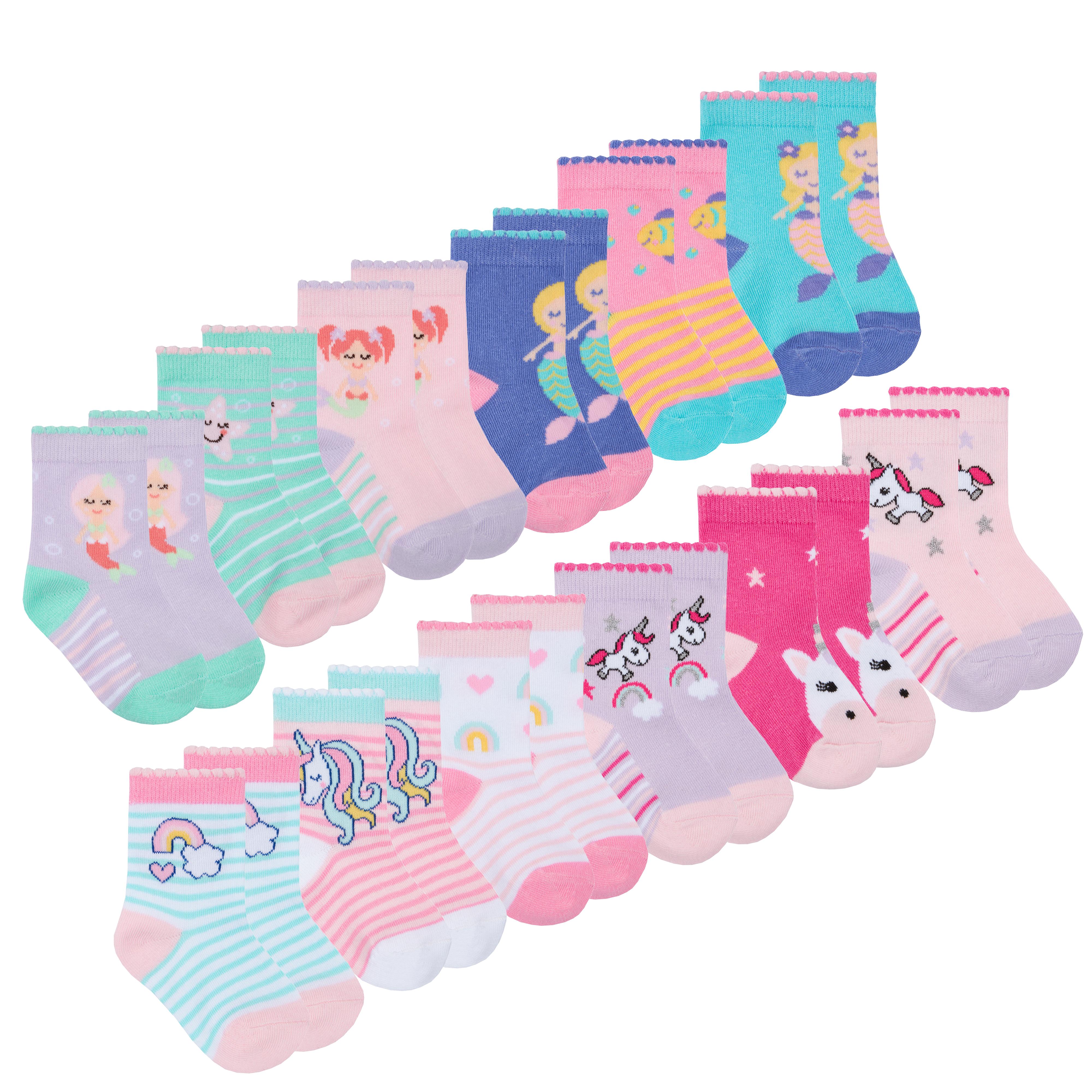 Newborn Toddler Baby Girls Novelty Socks Cotton Rich 3 or 6 Pairs Size 0-5.5 UK
