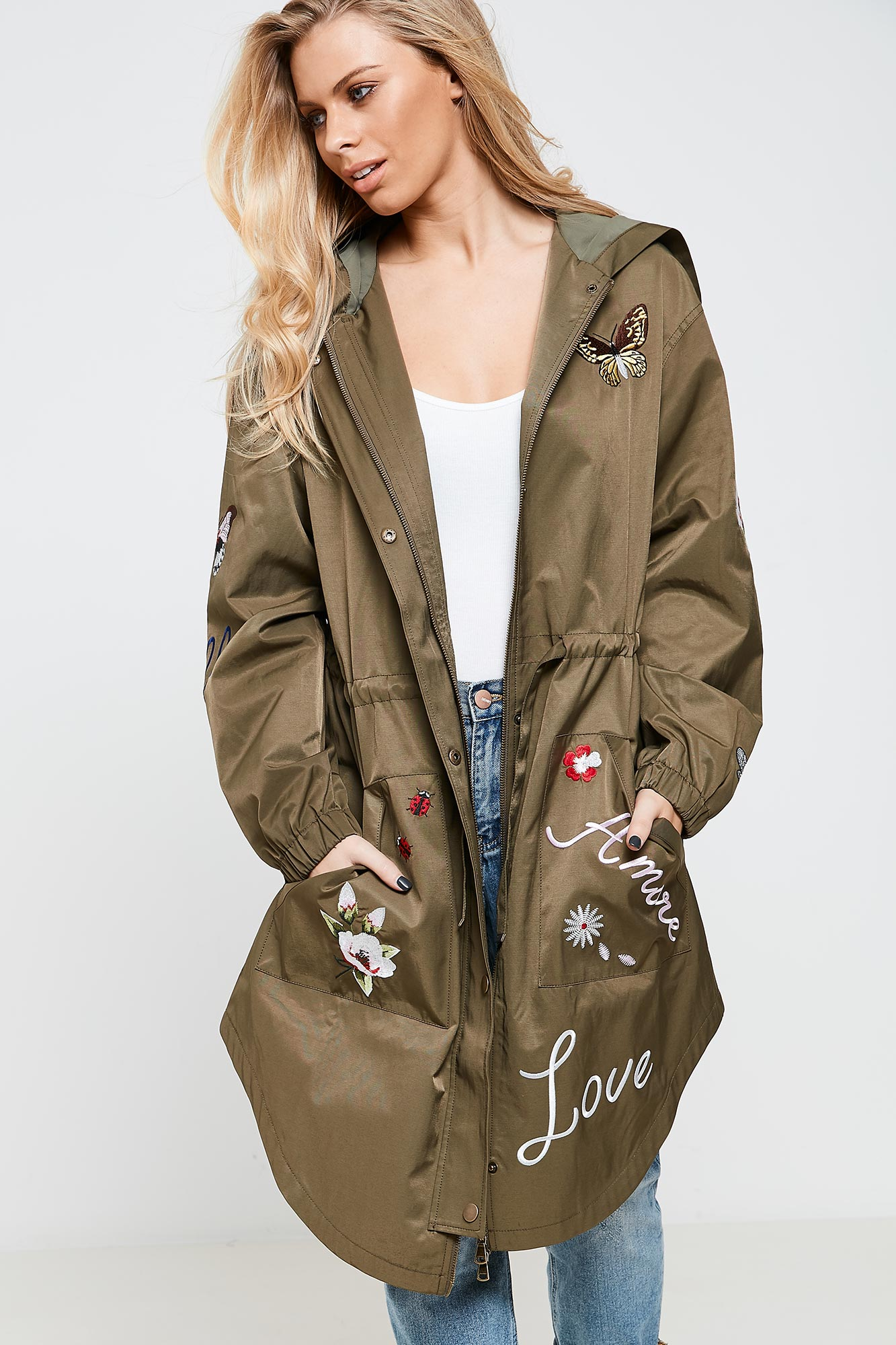 Anita & Green Embroidered Womens Parka Jacket in Khaki with ...