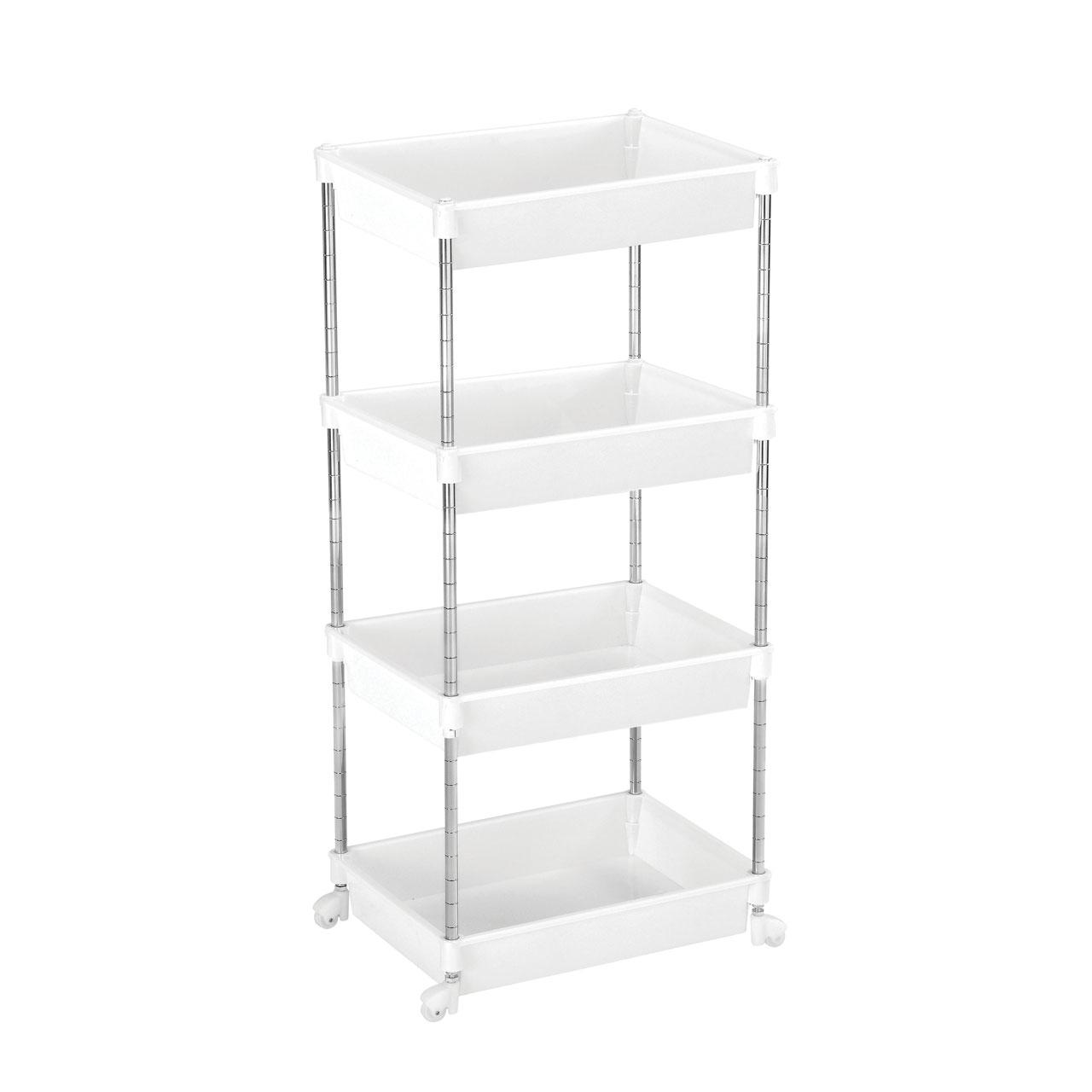 4 Tier White Plastic Shelf Unit Cart Chrome Steel Frame Wheels Bathroom Storage