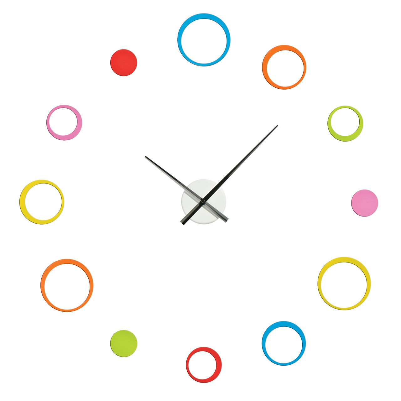 Diy wall clock with 12 multi coloured circles customisable layout diy wall clock with 12 multi coloured circles customisable layout self adhesive amipublicfo Choice Image