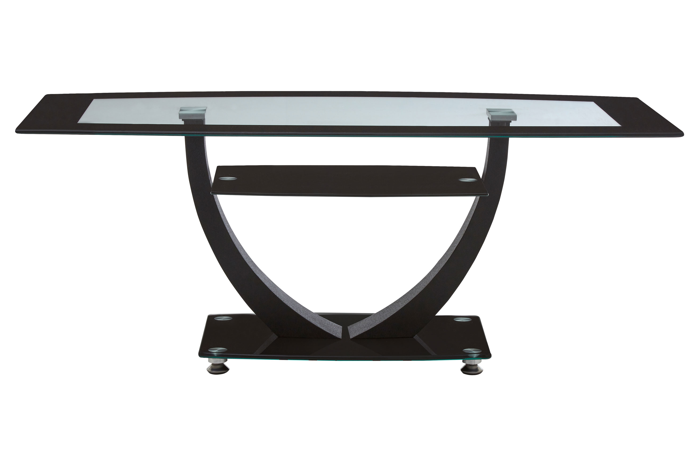 Tempered Clear Black Glass Coffee Table Metal Frame Glass Shelf