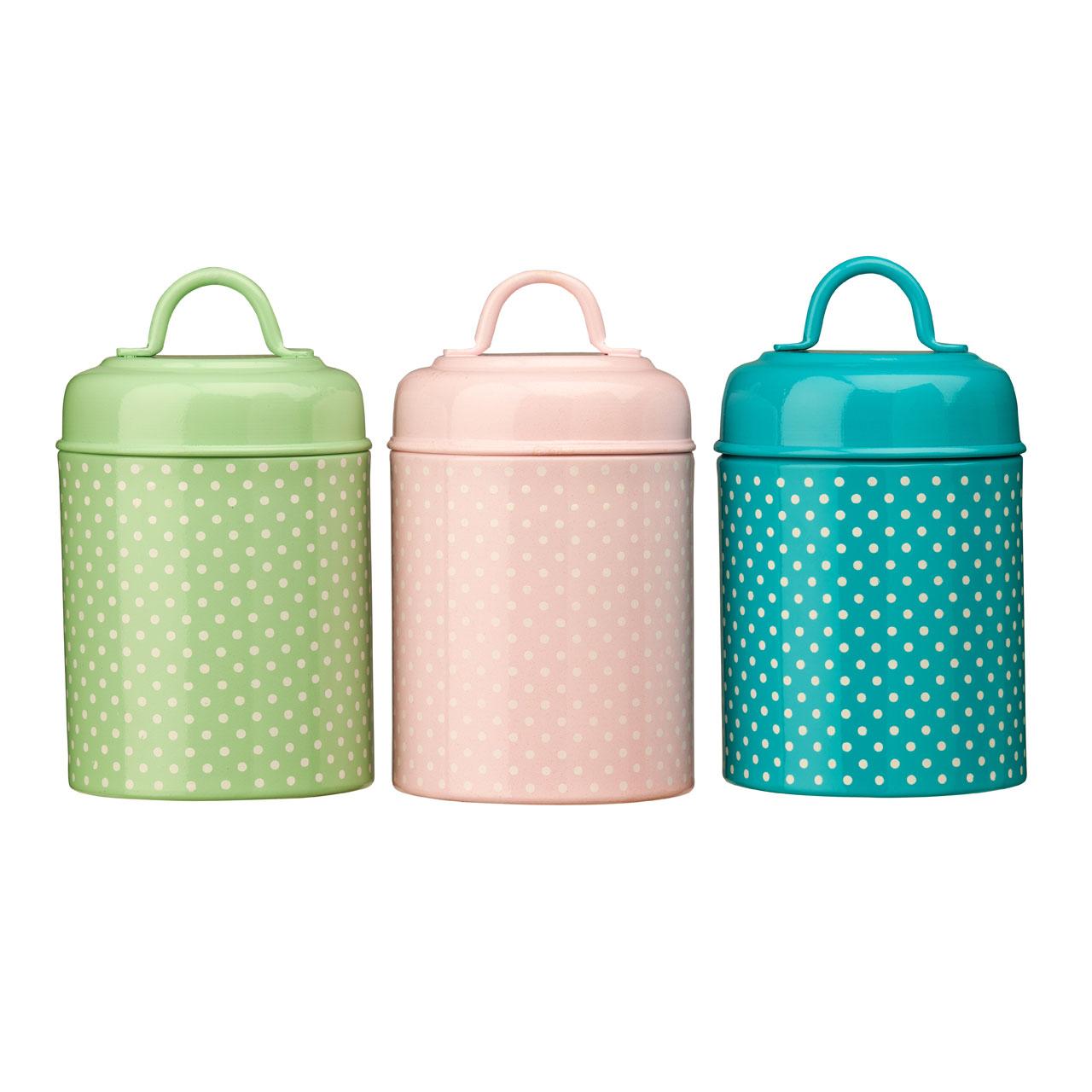 3 polka dot canisters green pink blue kitchen storage tea coffee