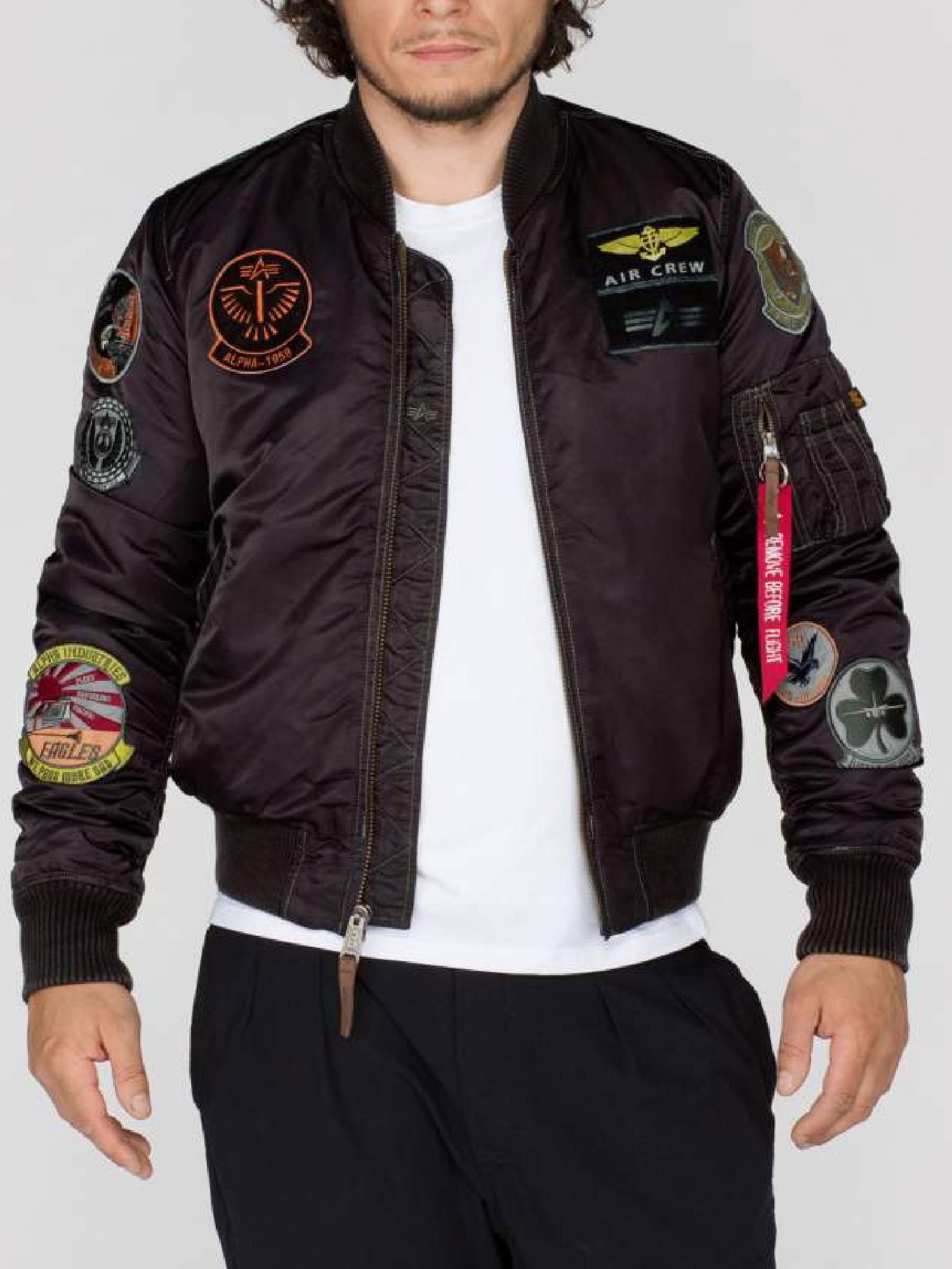 Alpha Industries Mens MA1 Pilot Designer Zip Through Patch Bomber ...