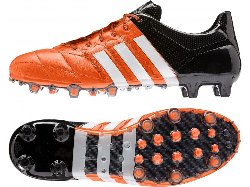 New hombre  Adidas ACE Leather FG negro naranja brillante fútbol AG