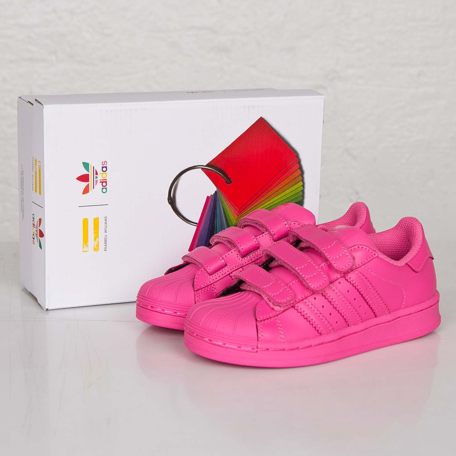 official photos f0d8d aff65 Girls Adidas Superstar Pink Leather Supercolor Trainers Pharrell Willaims  Shoes