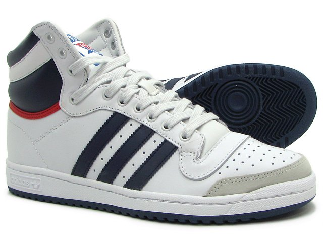 Mens Adidas Top Ten Hi Smart Casual in pelle bianca di Hi-Top formatori taglia UK 6-11