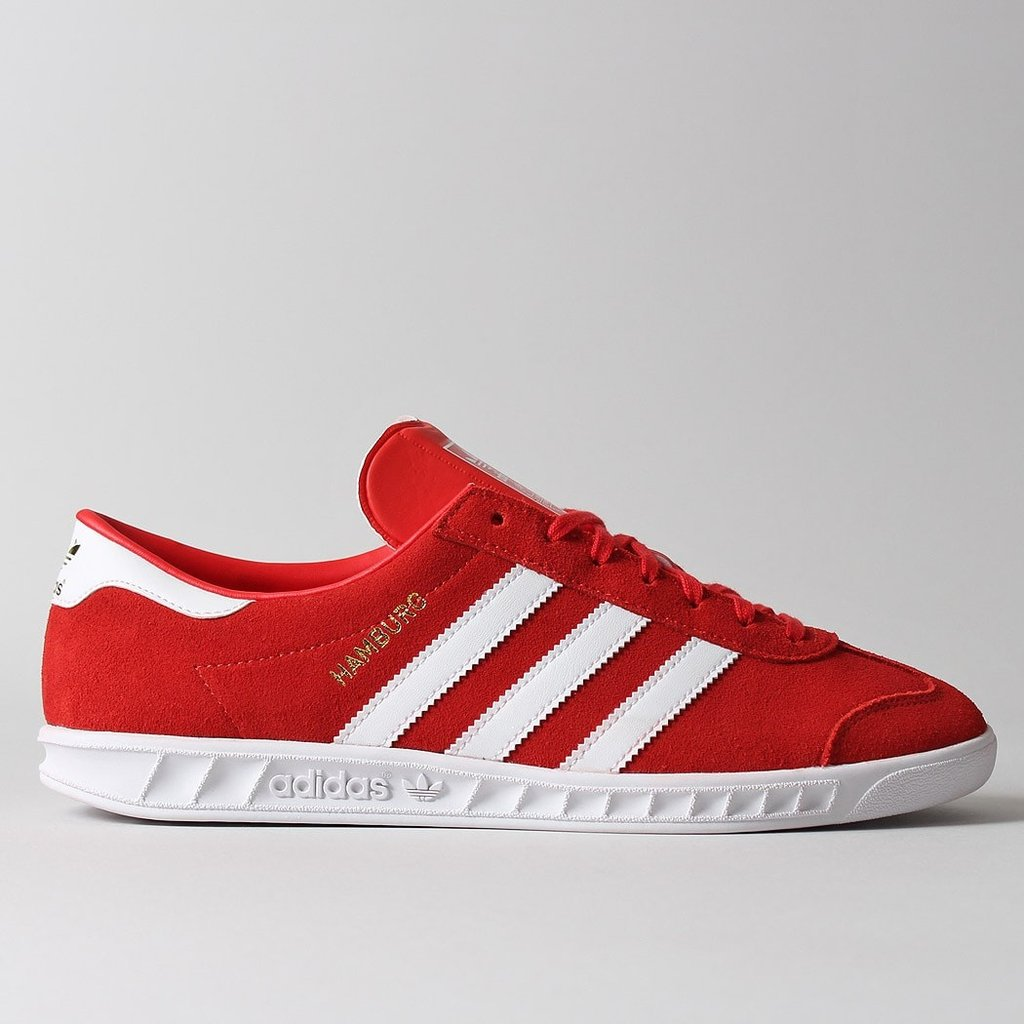 Adidas Hamburg Originals Red White Suede Retro Shoes