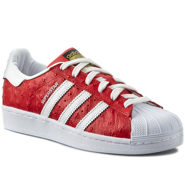 New Mens adidas Superstar Animal Red White Trainers Shoes Lace Up