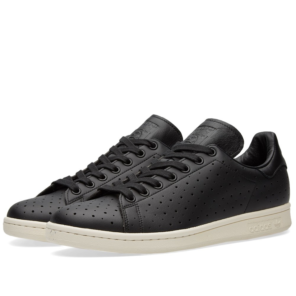 adidas stan smith mens originals black perforated leather. Black Bedroom Furniture Sets. Home Design Ideas