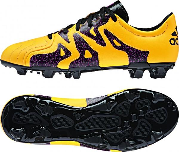 Ragazzi Junior adidas X 15,3 FG/AG in pelle oro calcio stivali stampati Studs