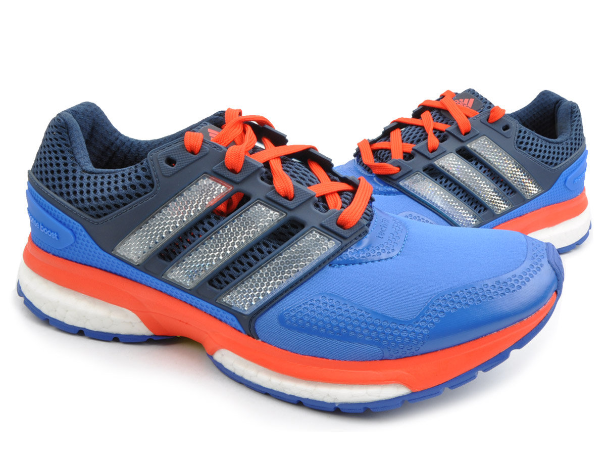 adidas Response Boost 2 Techfit Mens Blue Cushioned Running Sport ... 7ac642c4c