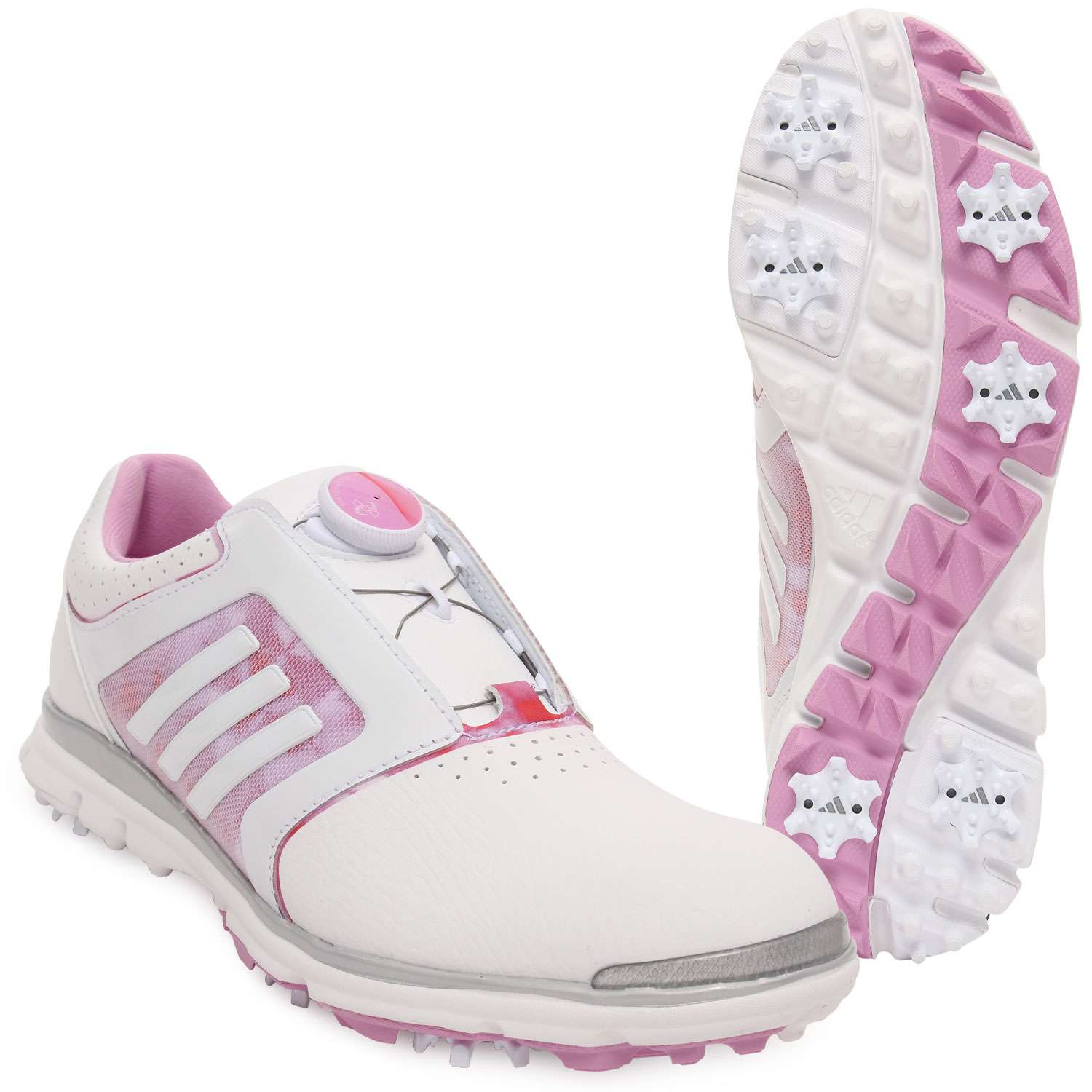 Womens adidas Adistar Tour Boa Spikes Golf Shoes Trainers Size UK 4.5 White  Pink 84205cec4