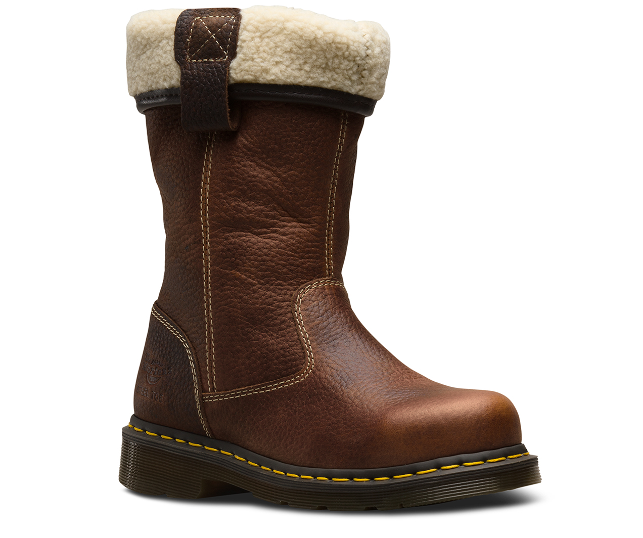 b4914bf9529 Details about Womens Dr Doc Martens Rosa Brown Leather Steel Toe Cap Safety  Work Rigger Boots