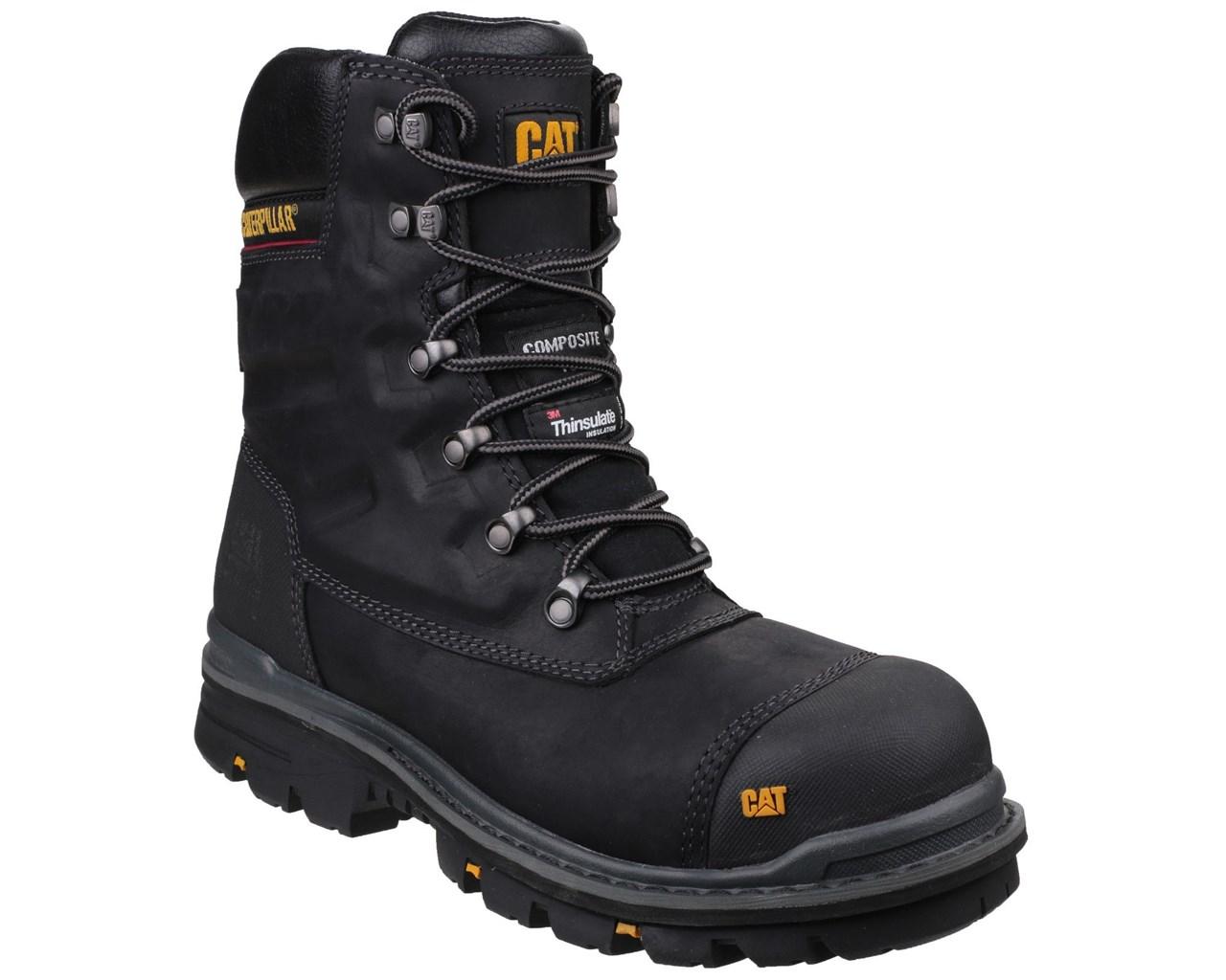 Details About Caterpillar Cat Premier S3 Black Safety Combat Side Zip Boots Rigger Midsole