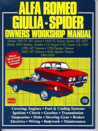 alfa romeo giulia spider owner s workshop manual new ebay rh ebay com
