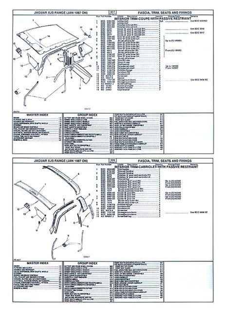 Sentinel JAGUAR XJS PARTS CATALOG MANUAL 1987 88 89 90 91 92 6 Cyl 12 Cyl  Factory