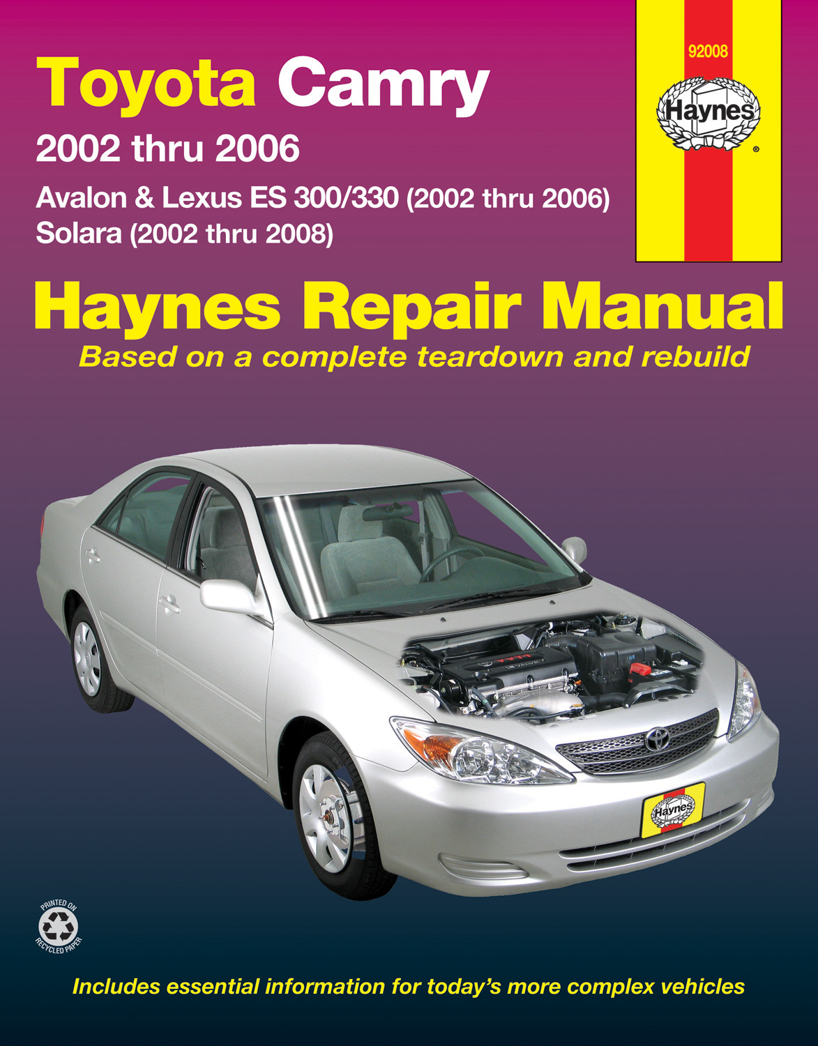Sentinel Toyota Camry Avalon Lexus ES 300/330 WORKSHOP REPAIR SERVICE MANUAL  HAYNES BOOK
