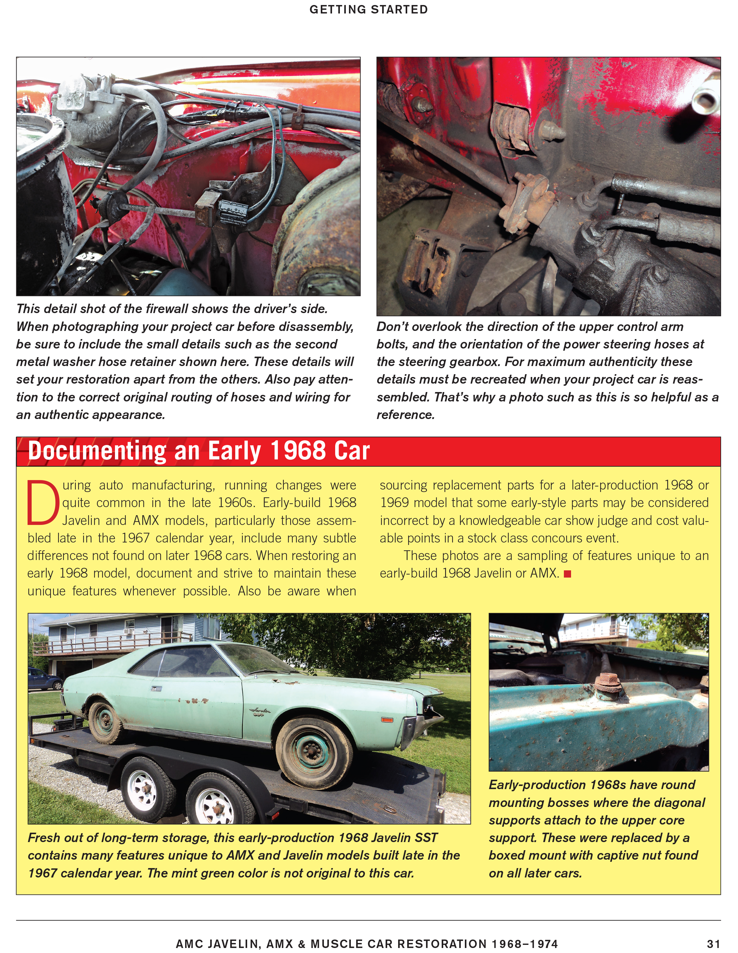 Sentinel AMC Javelin AMX 1968-75 Muscle Car Restoration Manual guide for  project car