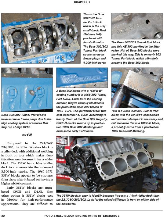 Ford Boss 302 351 Windsor Engine Parts Casting Number Interchange