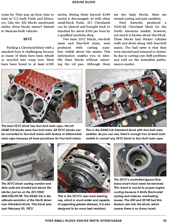 Details about Ford 302 289 260 221 Engine Parts Casting Number Interchange  Id Book