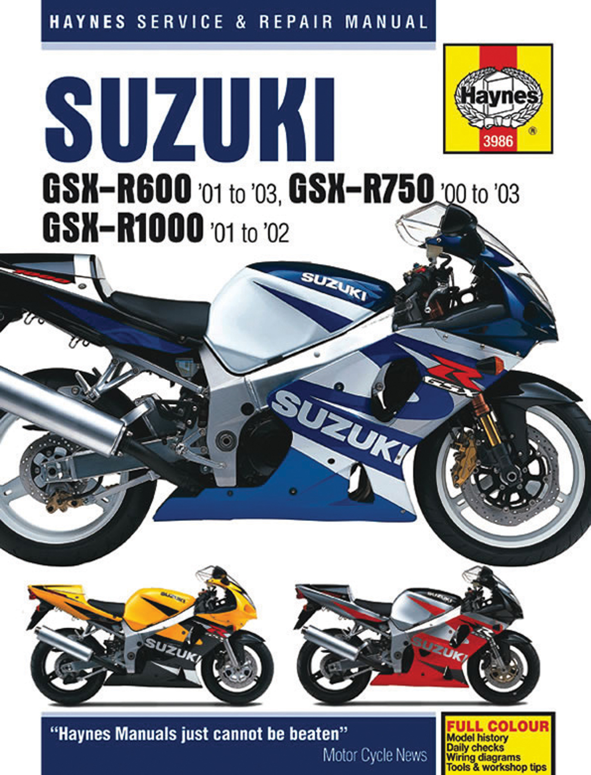 Sentinel Suzuki GSX-R600 GSX-R750 & GSX-R1000 REPAIR SERVICE WORKSHOP MANUAL  HAYNES