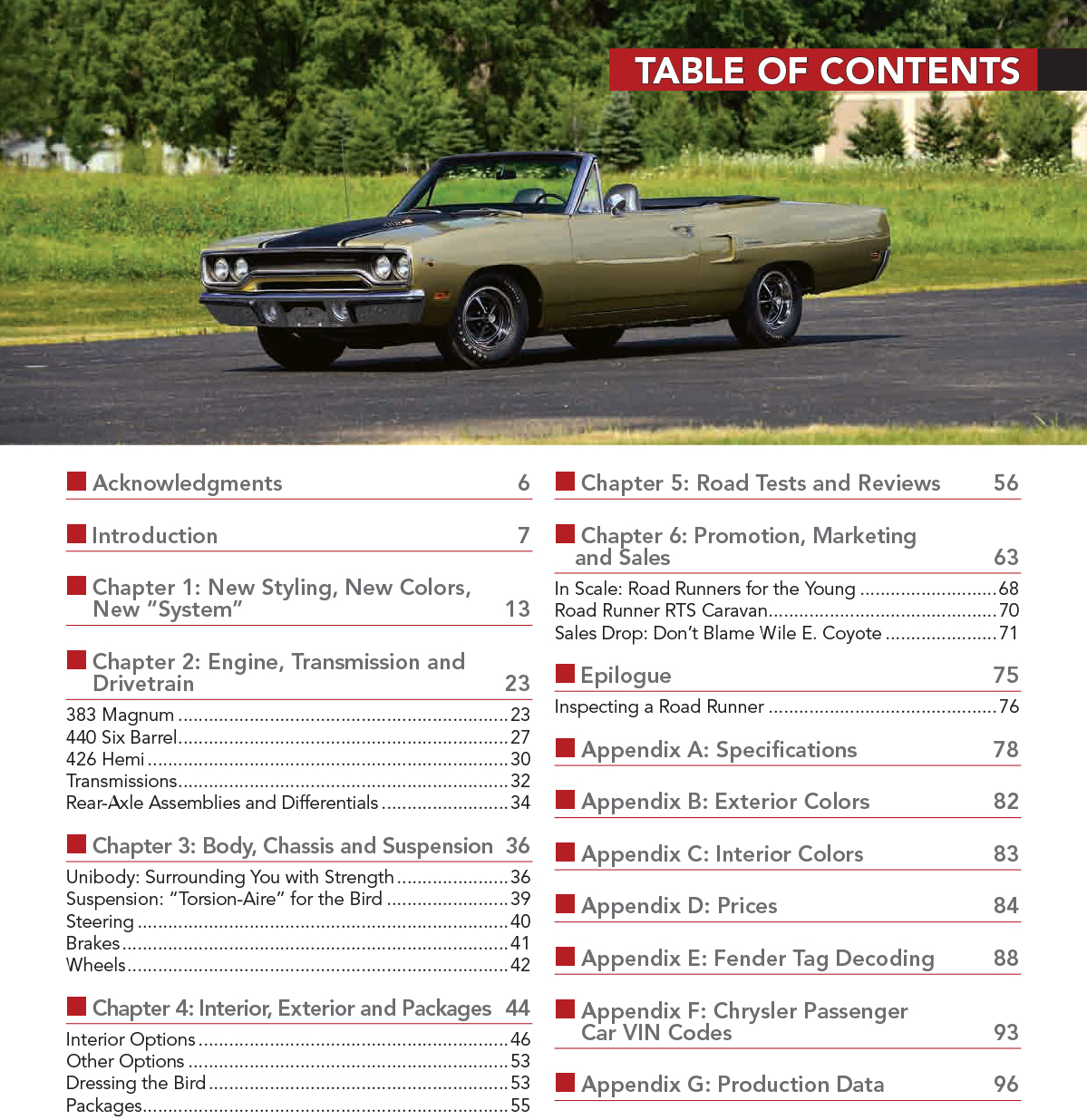 Details about 1970 Plymouth Road Runner Hemi 383 440 Colors Options Vin  Code Fender Specs Book