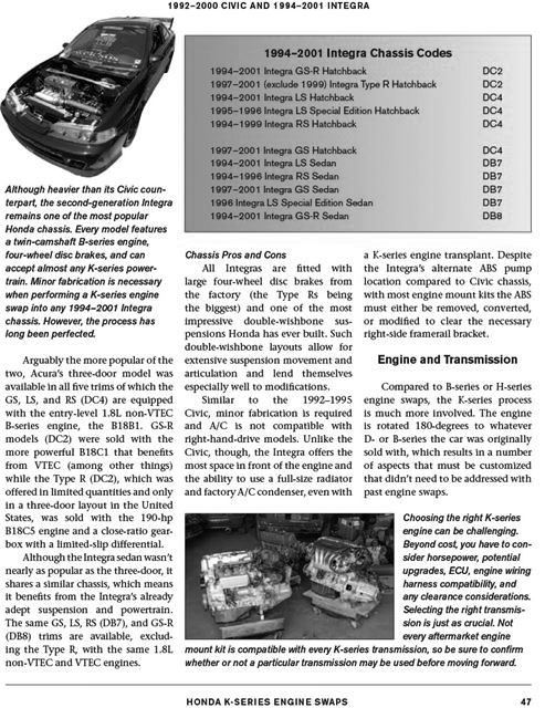 Details about Honda Engine Swap Guide Book - K20, K24 Series Engines Book