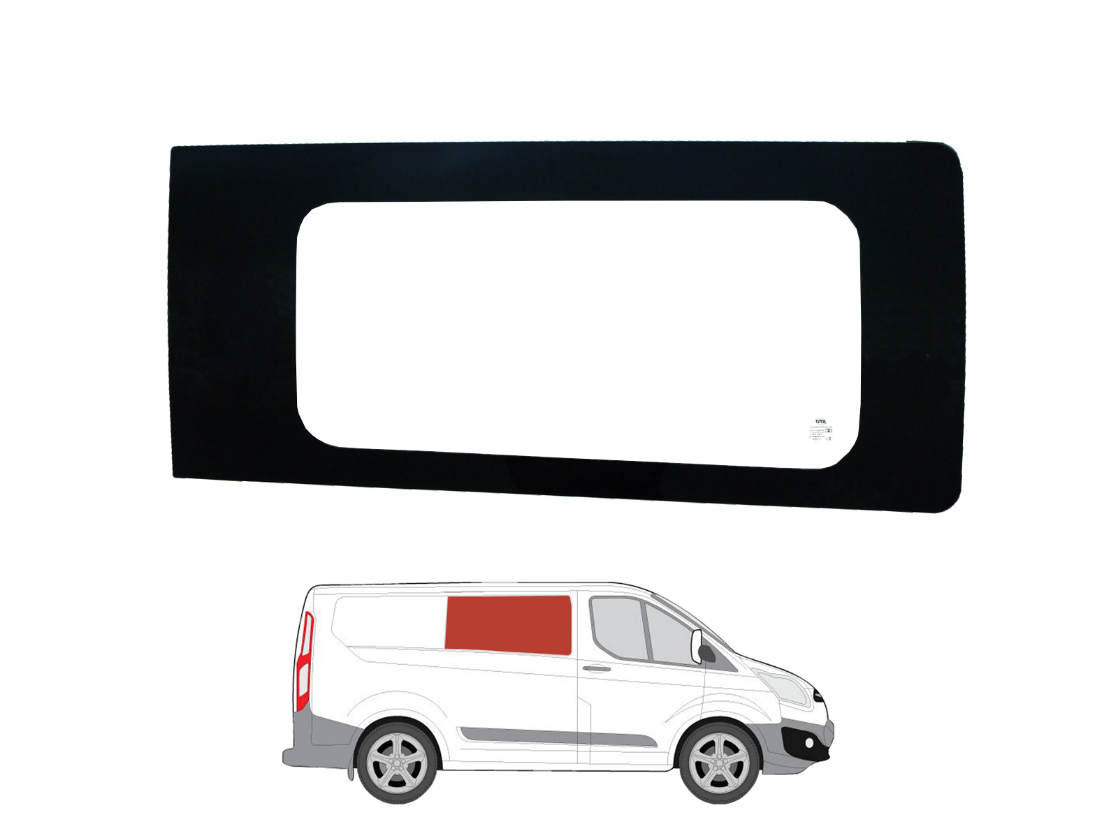 Sentinel Right Hand Panel Clear Fixed Window Conversion Glass For Ford Transit Custom