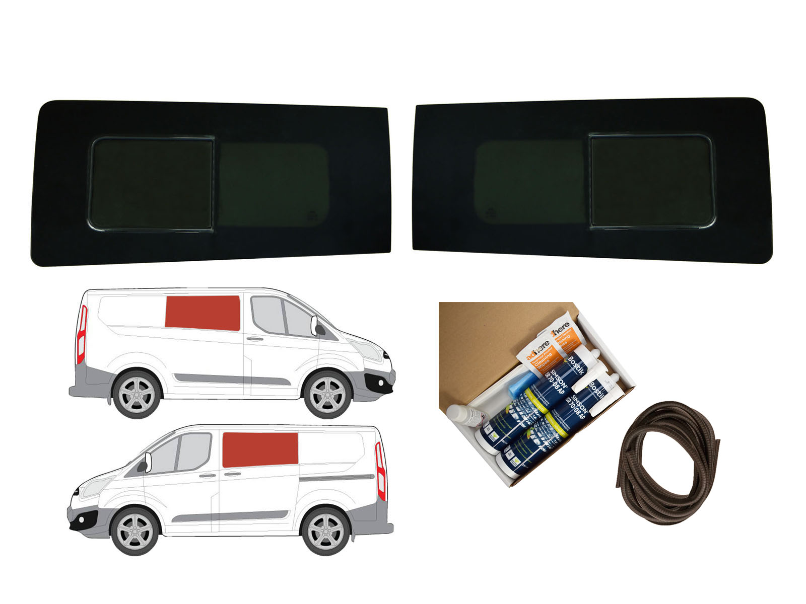 Twin Side Dark Tint Opening Windows Adhesive Trim Kit For