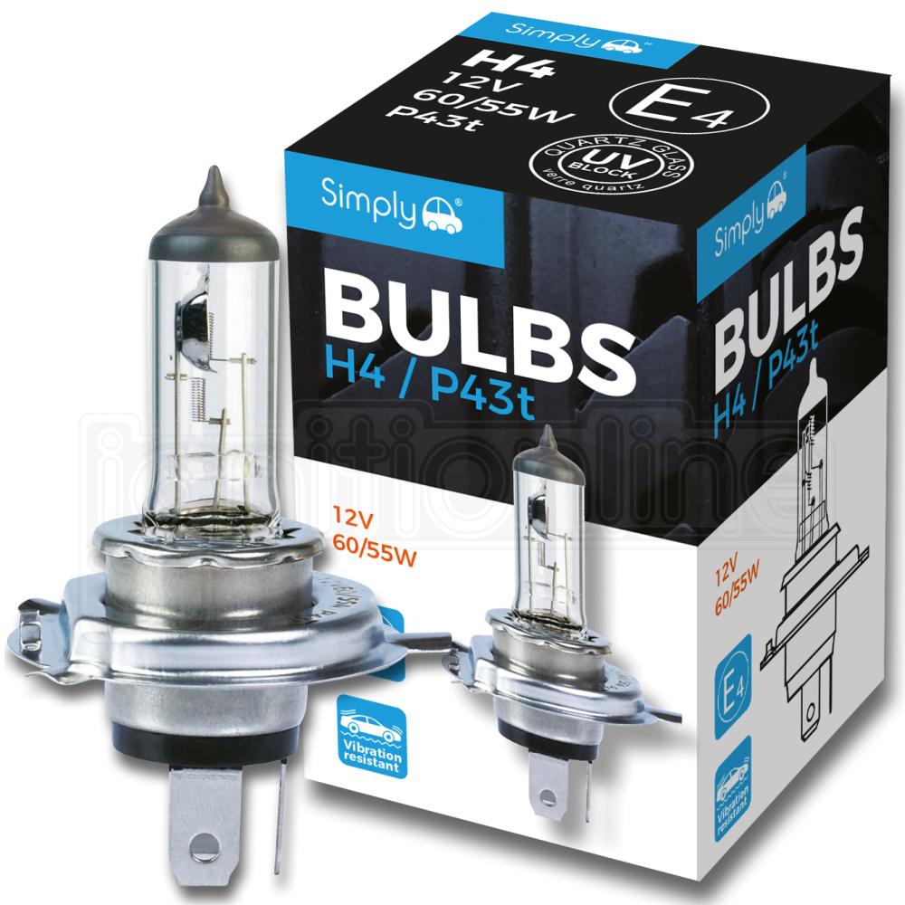 472 Lucas H4 ampoule de phare 12 V 60//55W P43t Halogène