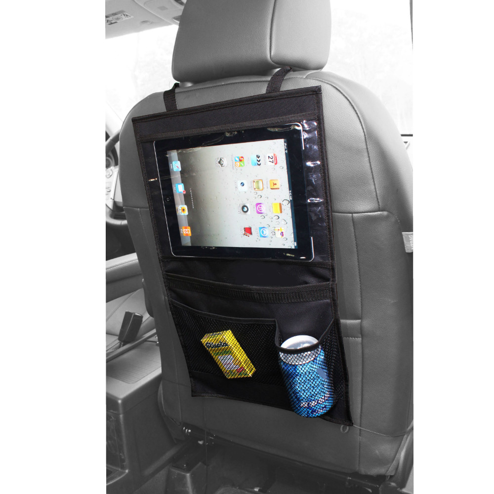back seat car organiser with tablet holder travel ipad galaxy storage bag pocket ebay. Black Bedroom Furniture Sets. Home Design Ideas