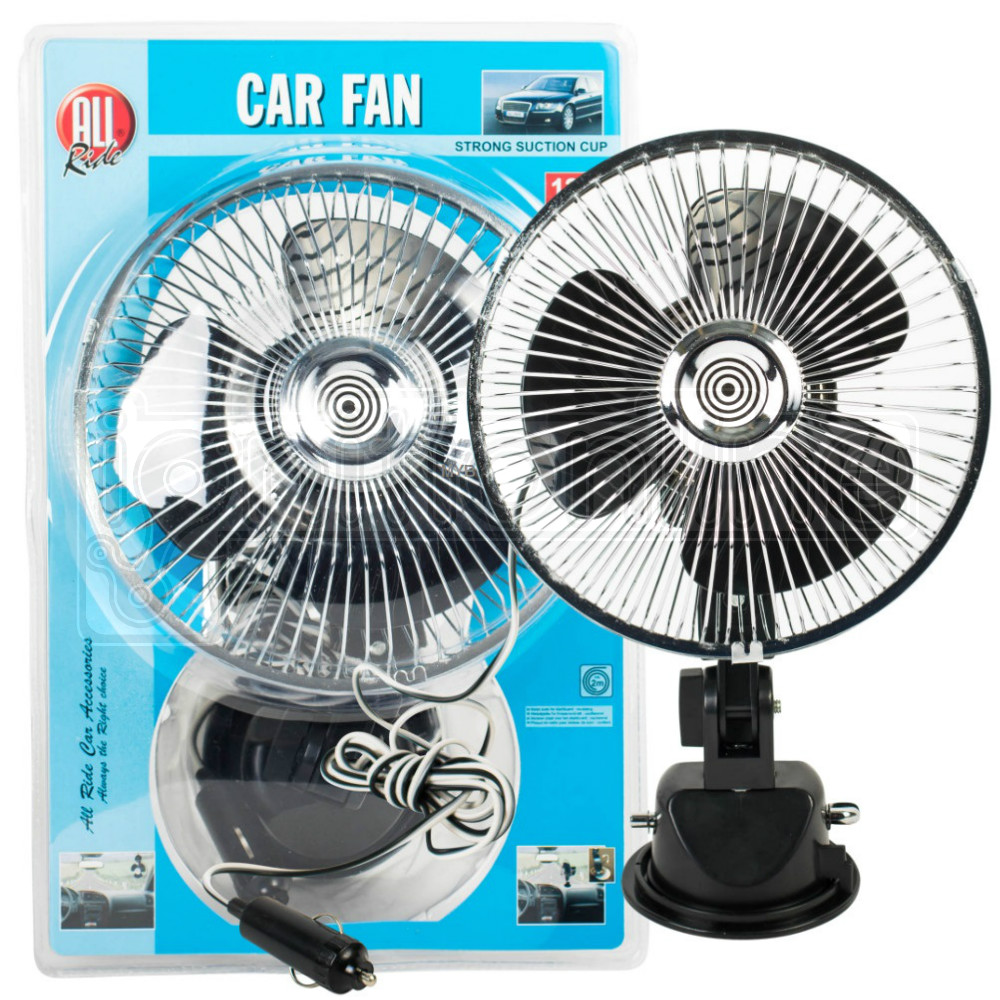 6 Inch 12v Suction Cup Oscillating Car Van Fan Metal Dashboard Cooling Air Con