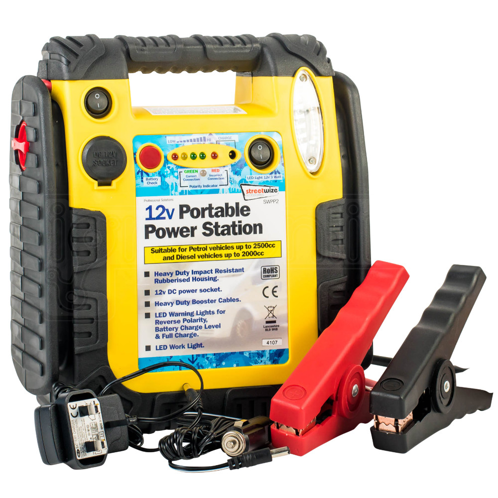 Streetwize 12V Portable Power Station Emergency Jump Starter Car Battery charger 5026637636738 ...