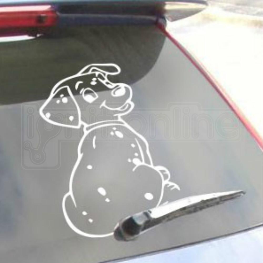 Sentinel dog car rear window decal adhesive sticker wagging wiper tail cute accessory
