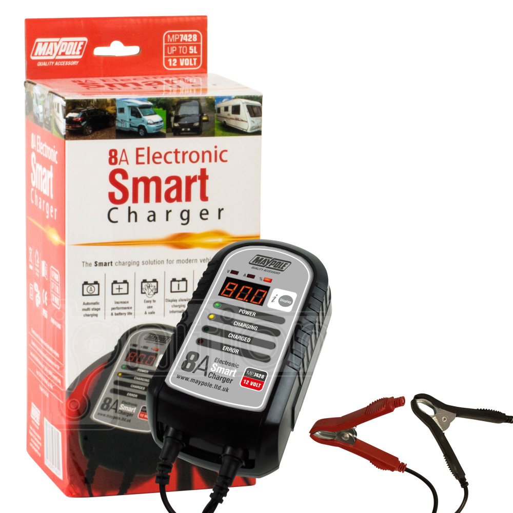 Maypole 8a Electronic Smart Charger 6v 12v Lead Acid Agm Car Van 2a Battery With Short Circuit Protection Sentinel Batteries