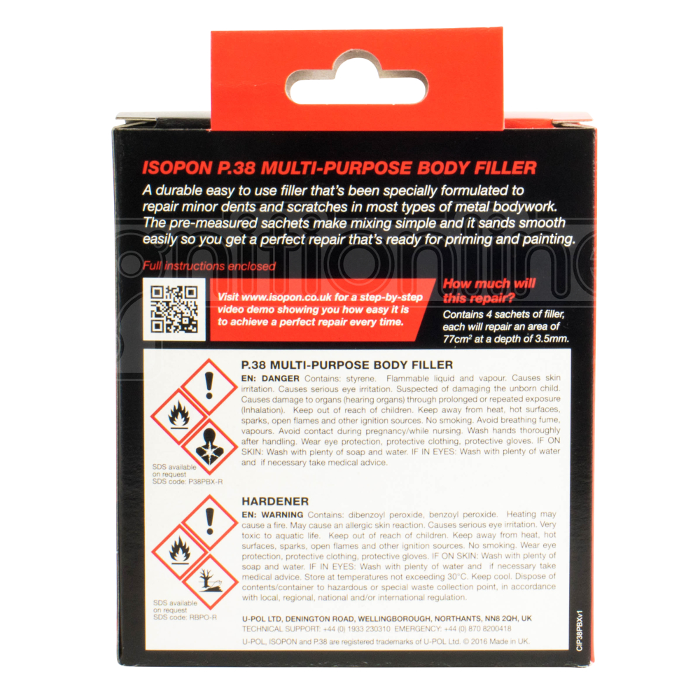 Details about Isopon P38 All Use Easy Sand Car Body Filler Repairs Dents  Scratch Repair Kit